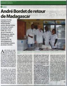 André Bordet de retour de Madagascar